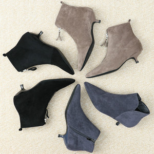 Image 3 - 2020 Herfst Winter Vrouwen Enkellaars Schoenen Solid Zwart Beige Lace Up Puntschoen Rubber Elegante Sexy Dunne Hoge hakken Vrouwen Laarzen
