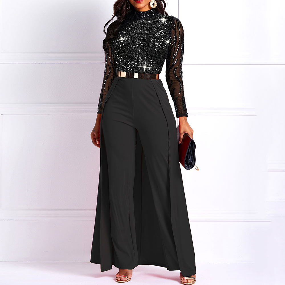 Sequins Sexy Jumpsuit Women Long Sleeve Mesh Lace See Through Party Jumpsuits Elegant Club Fashion African Ladies Black Rompers