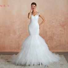 White/Ivory V-Neck Mermaid Wedding Dresses Cap Sleeves Sequins Ruffles Train Backless Long Bridal Gowns vestido de noiva 2019 simple v neck boho wedding dresses 2019 ivory lace appliques elegant bridal gowns backless cap sleeves tulle vestido de noiva