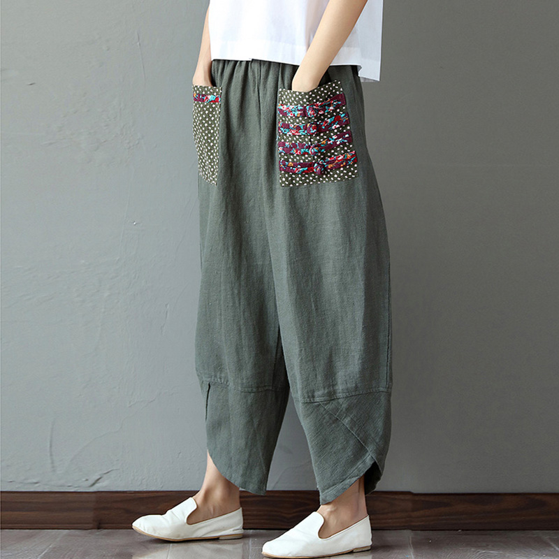 Wide Leg Harem Pants Trousers 2019 Chinese Style Women Ethnic Vintage Patchwork Elastic Waist  Loose Long Cotton Linen Pants