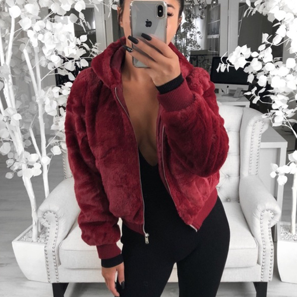 Women's Sweatshirts Autumn Spring Winter Jackets Coats Solid Color Women's Clothes Warm Fur Sexy Women Hoodies High Street Coat