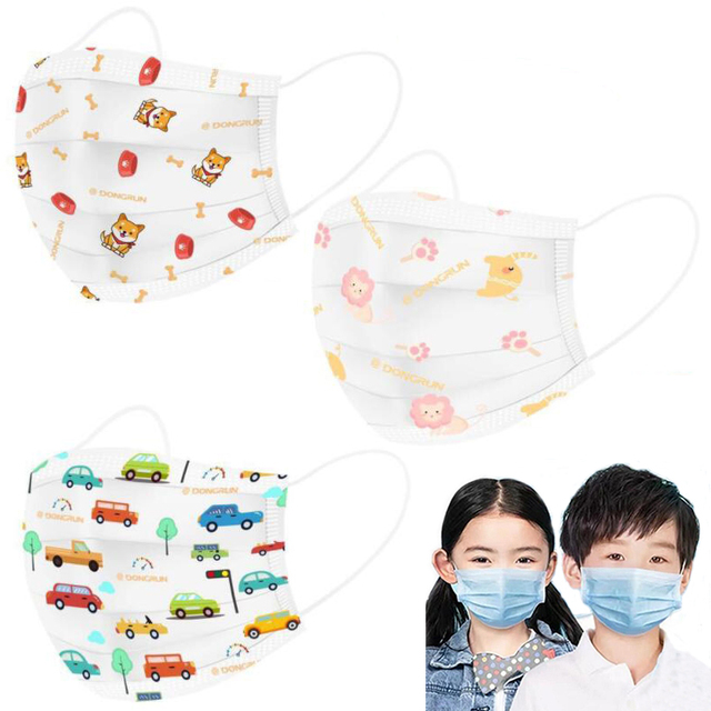 3 Layers Cartoon Children Face Masks Fashion Elastic Mouth Mask Anti-Flu Kids Disposable Mask Anti Dust Mouth for Adults