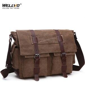 Image 1 - الرجعية الرجال حقيبة ساع حقائب يدوية من القماش الترفيه العمل حقيبة سفر رجل الأعمال حقائب كروسبودي حقيبة للذكور Bolsas XA108ZC