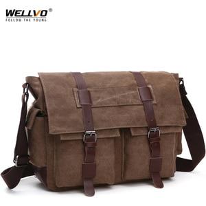 Image 1 - Retro Mannen Messenger Bags Canvas Handtassen Leisure Werk Reistas Man Business Crossbody Tassen Aktetas Voor Mannelijke Bolsas XA108ZC