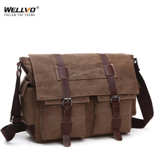 Retro Men Messenger Bags Canvas Handbags Leisure Work Travel Bag Man Business  Crossbody Bags Briefcase for Male Bolsas XA108ZC
