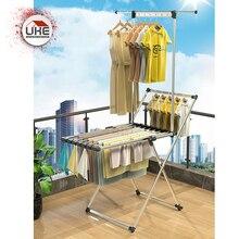 Aluminum Dry Rack Balcony Floor Foldable Wheeled Clothes Rack Space Saving Laundry Rack Hanging Drying Folding Hanger Never Rust