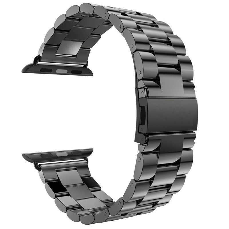 Для Apple Watch Series 6 5 4 3 2 ремешок 40 мм 44 мм 42 мм черный браслет из нержавеющей стали адаптер для iWatch Band 4 3 38 мм