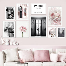 Fashion Paris Girl Flower Vintage Camera Wall Art Canvas Painting Nordic Posters And Prints Wall Pictures For Living Room Decor
