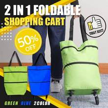 2 In 1 Foldable Shopping Cart Maximum Capacity 30L Be Used As A Tote Bag Or Shoulder Bag Light Weight Oxford Cloth Material