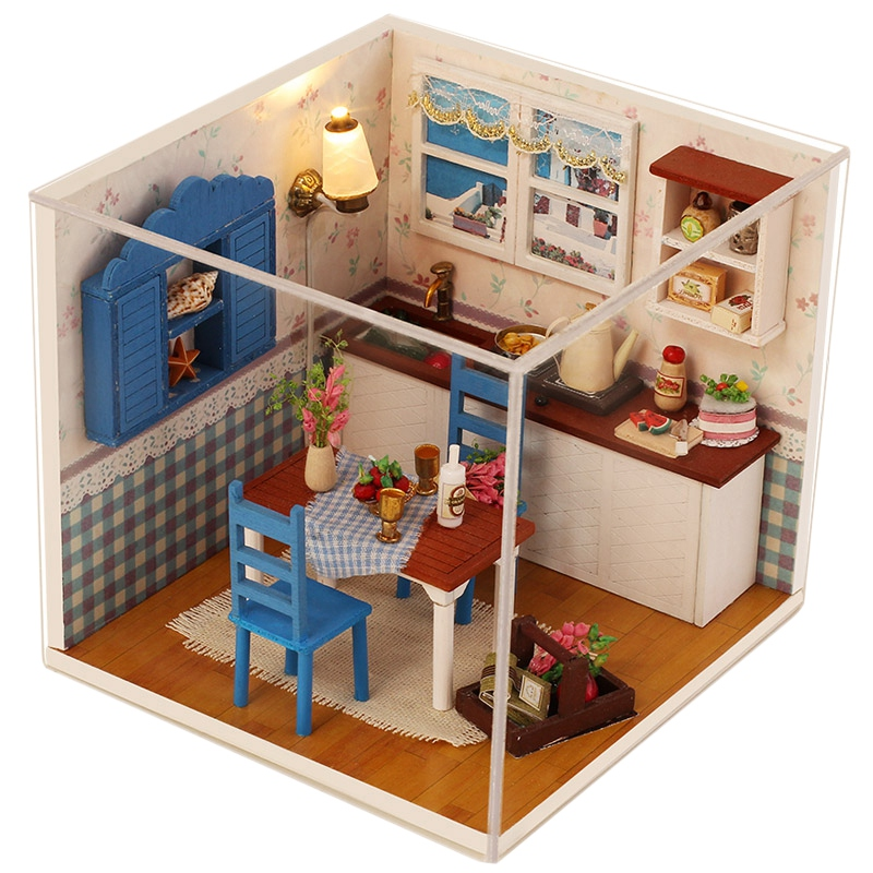 Iiecreate Small Diy Dollhouse 3D Wooden Mini Doll House Lifelike Handmade Miniature Dollhouses Kit Box Toys For Children Girls
