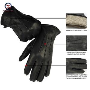 Image 2 - CHING YUN winter hand stitched mens deerskin gloves deer skin mens warm soft mens black corrugated gloves 70% wool lining