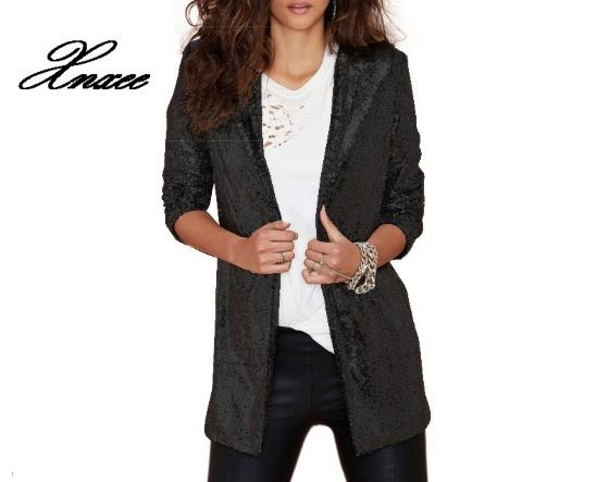 Xnxee Autumn Sequin Coat Sliver White Bomber Jacket Long Streetwear Tunic Loose Casual Basic Lady Outwear