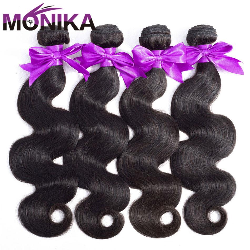 Monika Hair 8- 30 Inch Body Wave Bundles Brazilian Hair Weave Bundles Tissage 100% Human Hair Weave 3/4 Bundles Deals Non-Remy