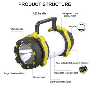 8000 Lumen 100W Long Use USB Rechargeable LED Torch Camping Lantern Water Resistant Outdoor Flashlight for Fish Hiki and More