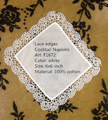 Set Of 120 Handkerchiefs/ Napkins New Venice Lace Trim Style White Cotton Coaster/ Cocktail Napkins 6