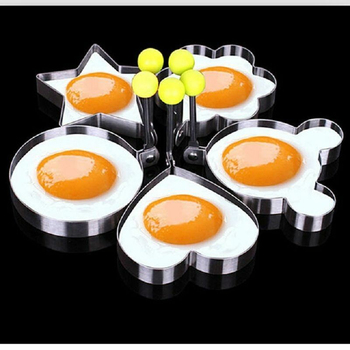 Breakfast Egg Mold Stainless Steel Shaper Pancake Poach Egg Beater Mould Heart Star Flower Cartoon Round Kitchen Cooking Tool image
