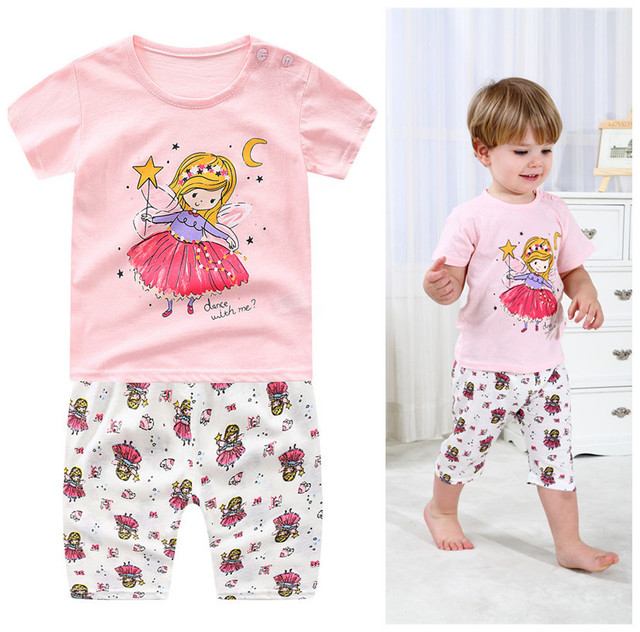 Summer children clothing sets cartoon toddler girls clothing sets top+pant 2Pcs/sets kids casual boys clothes sport suits outfit