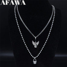 AFAWA 2pcs 2020  Stainless Steel Layered Necklace Women Silver Color Guitar Wings Music Necklace Jewelry gargantilla N3744S01 2019 family stainless steel necklace women jewlery silver color dad mum and son statement necklace jewelry gargantilla n18018
