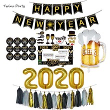купить Twins Party New Year Decorations 2020 Number Foil Balloons Set Photo Booth Frame Props New Year Eve Party Supplies по цене 592.04 рублей