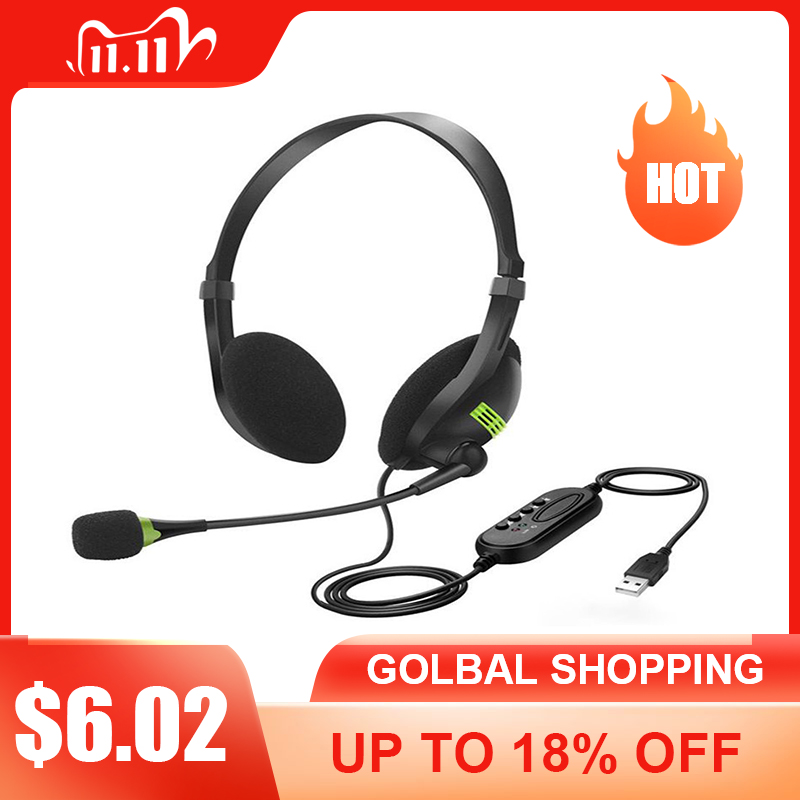 USB Headset With Microphone Noise Cancelling Computer PC Headset Lightweight Wired Headphones For PC  Laptop Mac  School Kids