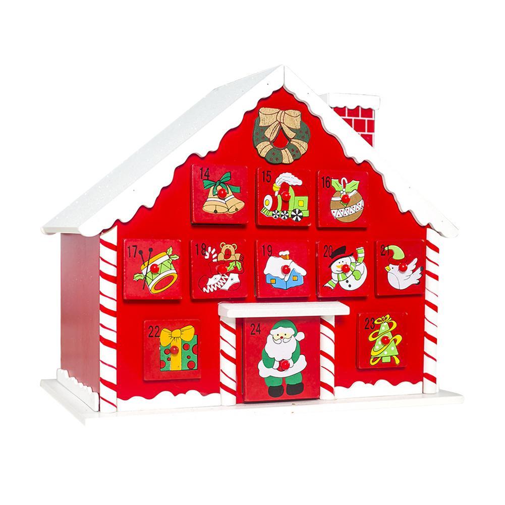 Calendrier de l'avent de noël en bois calendrier Double face avec mallette de rangement ornement de maison pour la décoration de noël