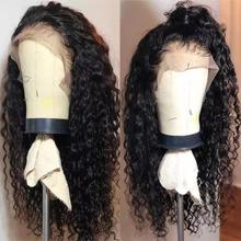 Human-Hair-Wigs Swiss-Frontal-Wig Lace-Front Wavy Deep-Wave Glueless Black Miss Curly 13x4