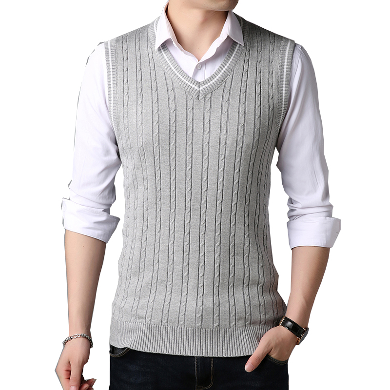 BROWON Men Clothes 2020 Autumn Winter New Classic Sweater V-neck Sleeveless Sweater Mens Knitwear Sweater Vest For Men