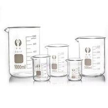 Capacità 5ml-100ml becher a bassa forma vetro di misurazione laboratorio chimico vetro borosilicato becher trasparente all'ingrosso
