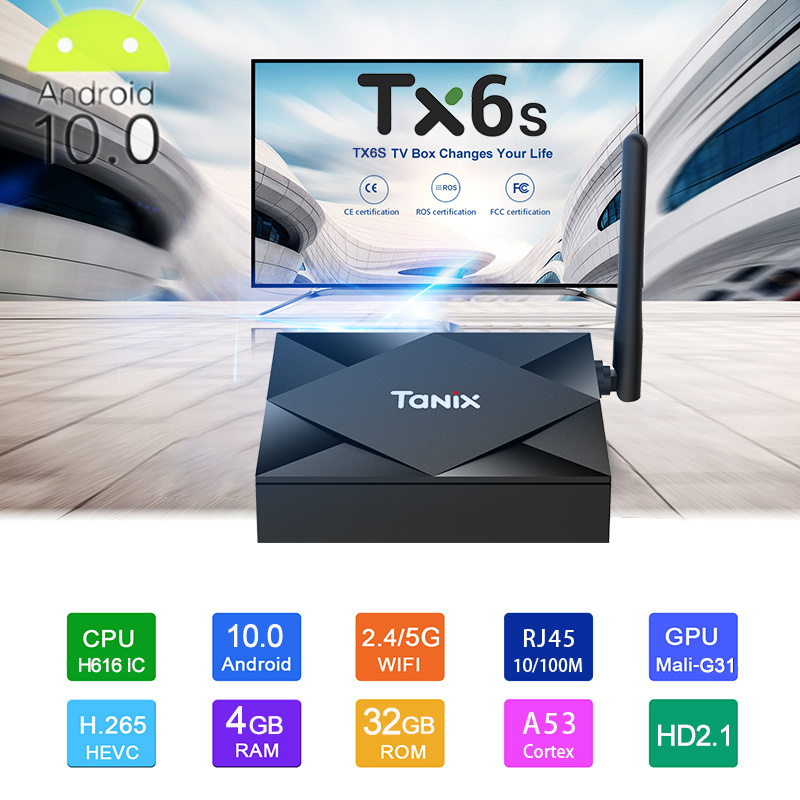 Best Smart Tv Box Tanix Tx6s Android 10 4g 64gb Allwinner H616 Quad Core 8k 2.4g 5g Wifi BT4.0 Youtube Netflix Android 10 TV Box