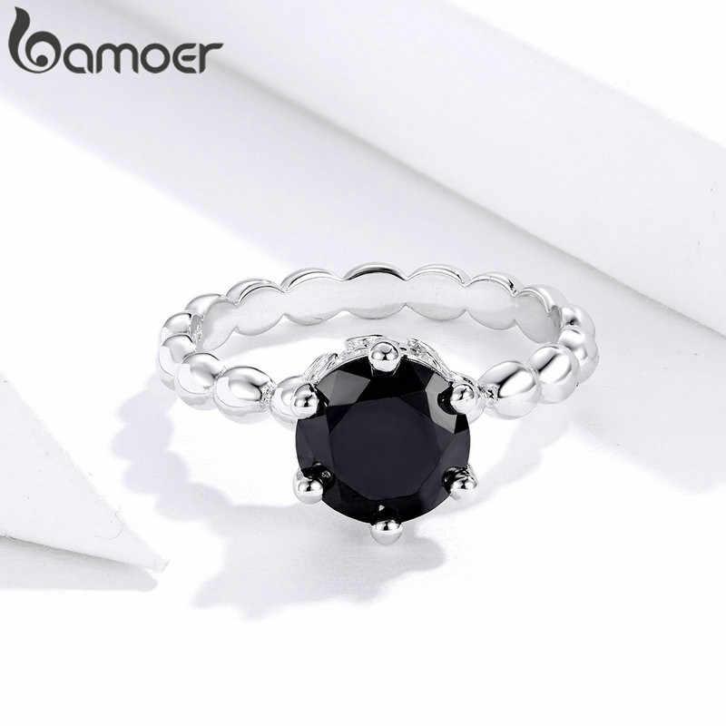BAMOER Silver สีนิ้วมือแหวน Cubic Zirconia สำหรับงานแต่งงานแฟชั่นผู้หญิงเครื่องประดับ PA7221