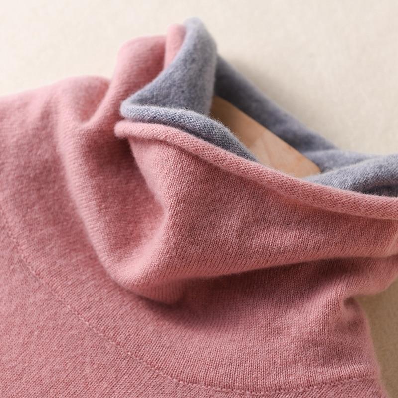 New Style Women Sweater 100% Wool Knitted Sweater Women Pullover Long Sleeve Double Turtleneck Female Pullovers Women Pull Femme