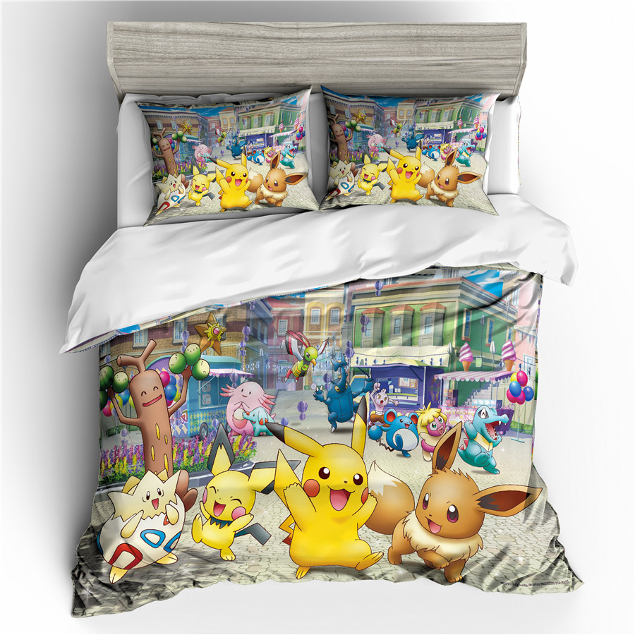 A Bedding Set 3D Printed Duvet Cover Bed Set Pokemon Pikachu Home Textiles For Adults Bedclothes With Pillowcase #PKQ04