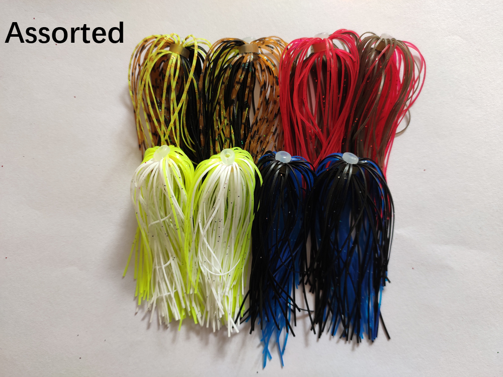 8 Bundles 50 Strands Silicone Skirts Wire 4 Colors Assorted Fishing Accessories For Buzzbait SpinnerBait Jig Bass Lure 006