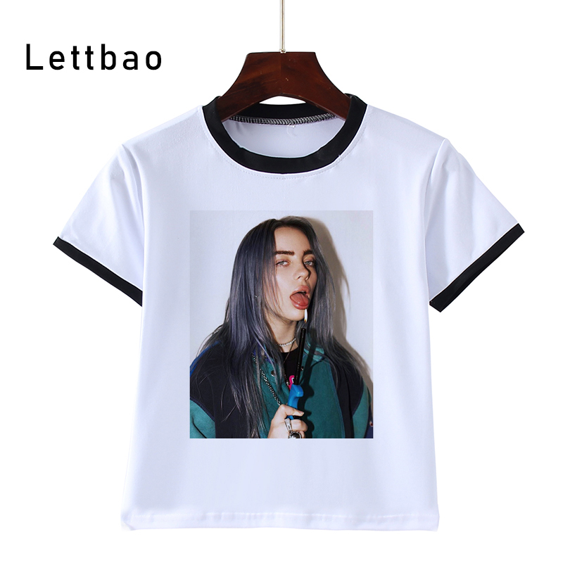 Girls T-Shirt Tops Vogue Billie Eilish Print Kids Children Clothing Tees title=