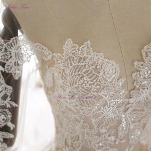 Image 4 - Julia kui beleza apliques querida bola vestido de casamento do vintage frisado renda três quartos rendas acima vestidos de casamento