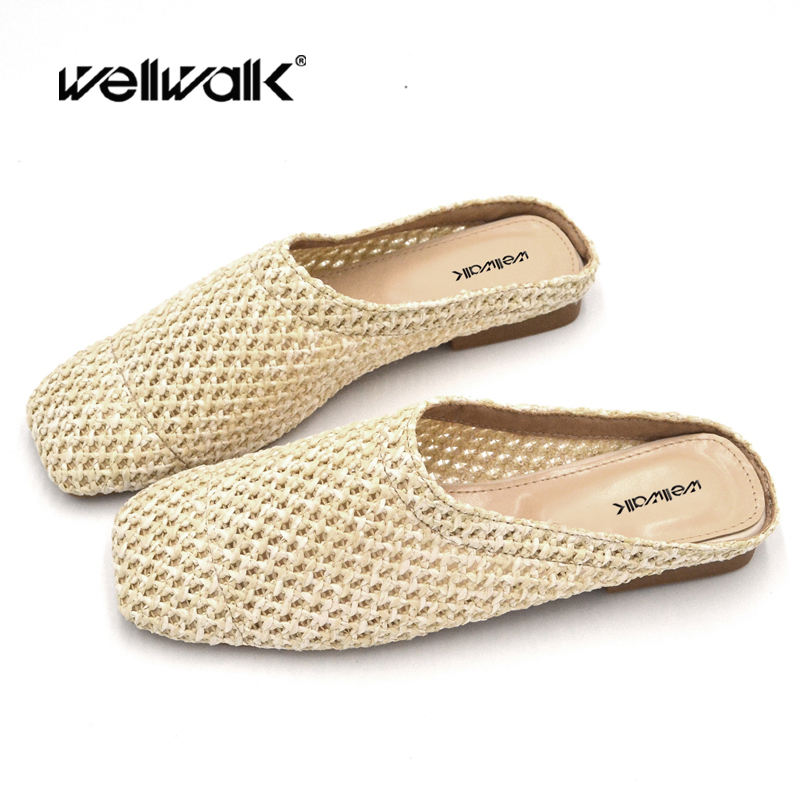 Wellwalk Straw Shoes Slippers Woman Mule Shoe Women Slip On Loafers Female Slipper Unicorn Ladies Summer Mules Flip Flop Ladi in Slippers from Shoes