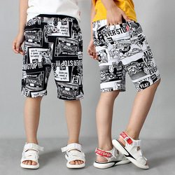 Korean Baby Short Summer Toddler Boy Shorts Clothes Fashion Cotton Teenage Beach Pants Children Knit Black/white Shorts 4-14T