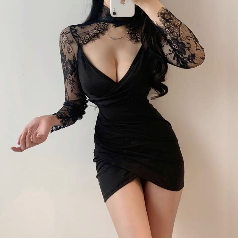 Black Lace Panel long sleeve dress female sexy deep V low chest tight package hip dress nightclub Party Dress Mini dress backles image