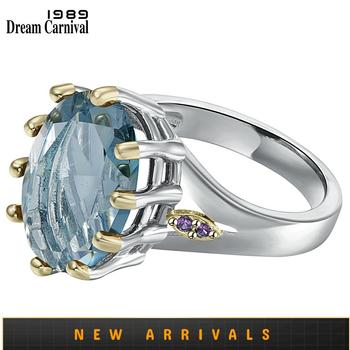 DreamCarnival1989 New Dusty Blue Zircon Solitaire Wedding Ring for Woman Delicate Cutting Dazzling Hot Bridal Jewelry WA11876BL 1