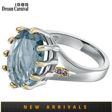 DreamCarnival1989 New Dusty Blue Zircon Solitaire Wedding Ring for Woman Delicate Cutting Dazzling Hot Bridal Jewelry WA11876BL