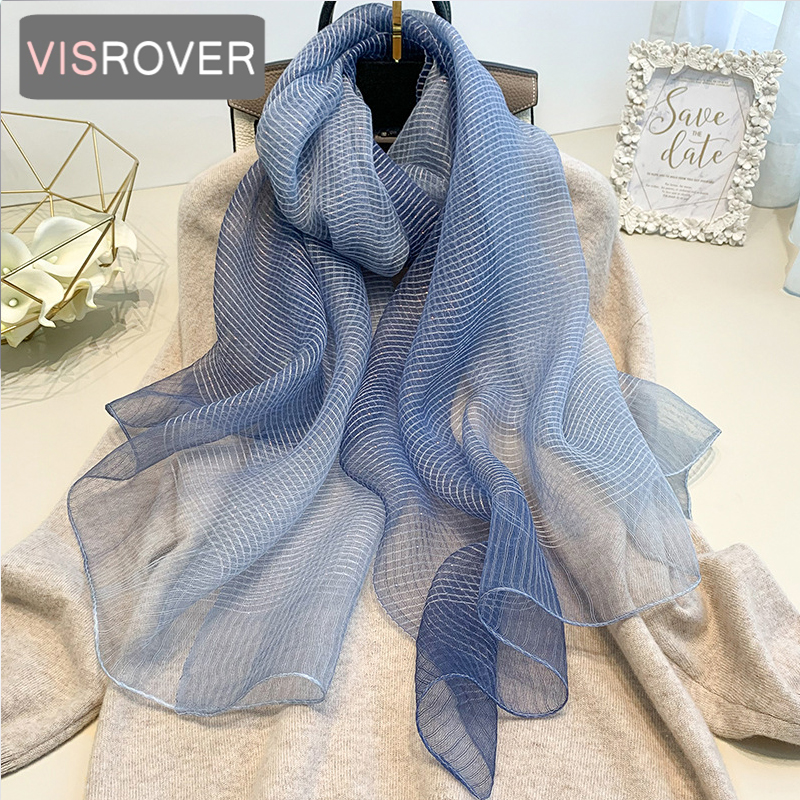VISROVER new summer women silk scarf with strip fashion Woman hijab Beach cover-ups wraps bandana silk scarves wholesales