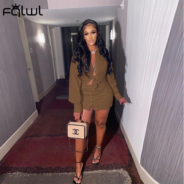 2 Piece Set Women Crop Top and Skirt Sexy Club Outfits Long Sleeve Bodycon 3