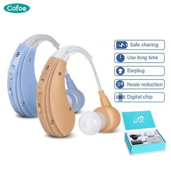 Cofoe BTE aparaty słuchowe cyfrowe aparaty słuchowe bezprzewodowy wzmacniacz słuchu Mini aparaty słuchowe aparaty dla osób niepełnosprawnych tanie i dobre opinie ZDB100 Skin Cofoe BTE rechargeable hearing aid 4~8 h 11-16 h 3 sizes
