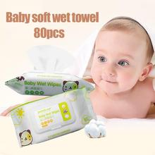 80Pcs  Baby Wet Wipes Kids Portable Disposable Wet Wipes Kid Hand Mouth Cleansing Napkin Tissue  infant Care Tools wet wipes chicco cleansing wipes for breast 80 pcs 0 kidwetwipes