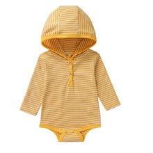 Одежда для новорожденных для маленьких девочек Боди для мальчиков, в полоску, с длинным рукавом, с капюшоном, комбинезон, одежда для подвижных игр; сезон осень