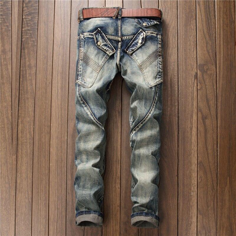 European Style Mens Jeans Punk Biker Trousers Male Streetwear Personalized Straight Leg Vintage Slim Fit Denim Pants Men Clothes