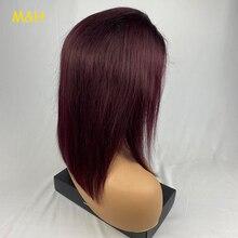 M&H peluca con malla frontal color Burdeos 130%, pelucas de cabello humano ombré, pelo rojo liso 1B/99J para mujer Remy