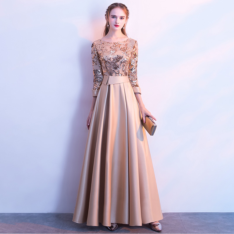 Evening Dress With Sequins Long Dress A-Line Bateau Floor Length Long Sleeves Satin Elegant Evening Dress With  Sequins