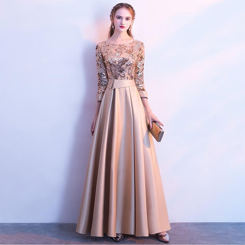 Evening Dress With Sequins Long Dress A-Line Bateau Floor Length Long Sleeves Satin Elegant Evening Dress With  Sequins