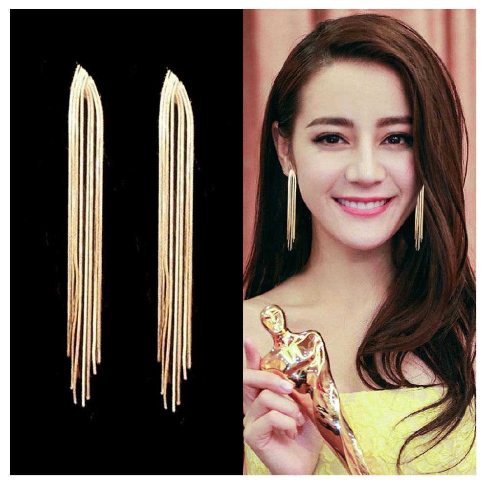 2020 Zaolaixi Chain Tassel Earrings Female Long Style Temperament Gold Silver Studs Pendant Women Color Jewelry Party Gifts